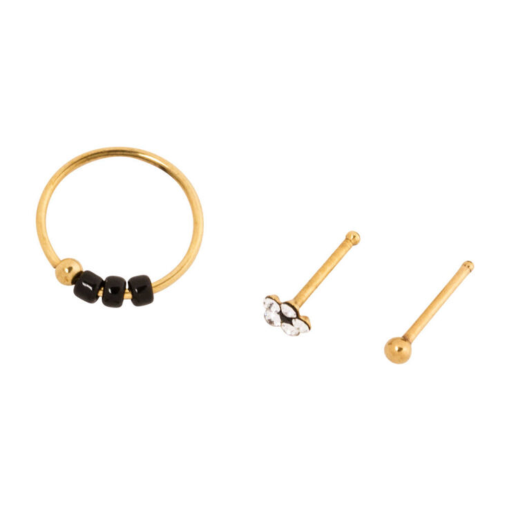 20g Gold Nose Hoop And Studs Pack 2 Claire S Us