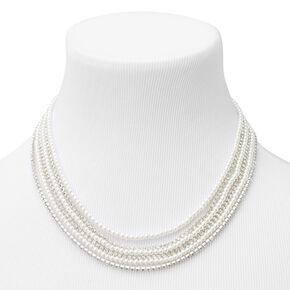 Pearl & Rhinestone Multi Strand Choker Necklace,