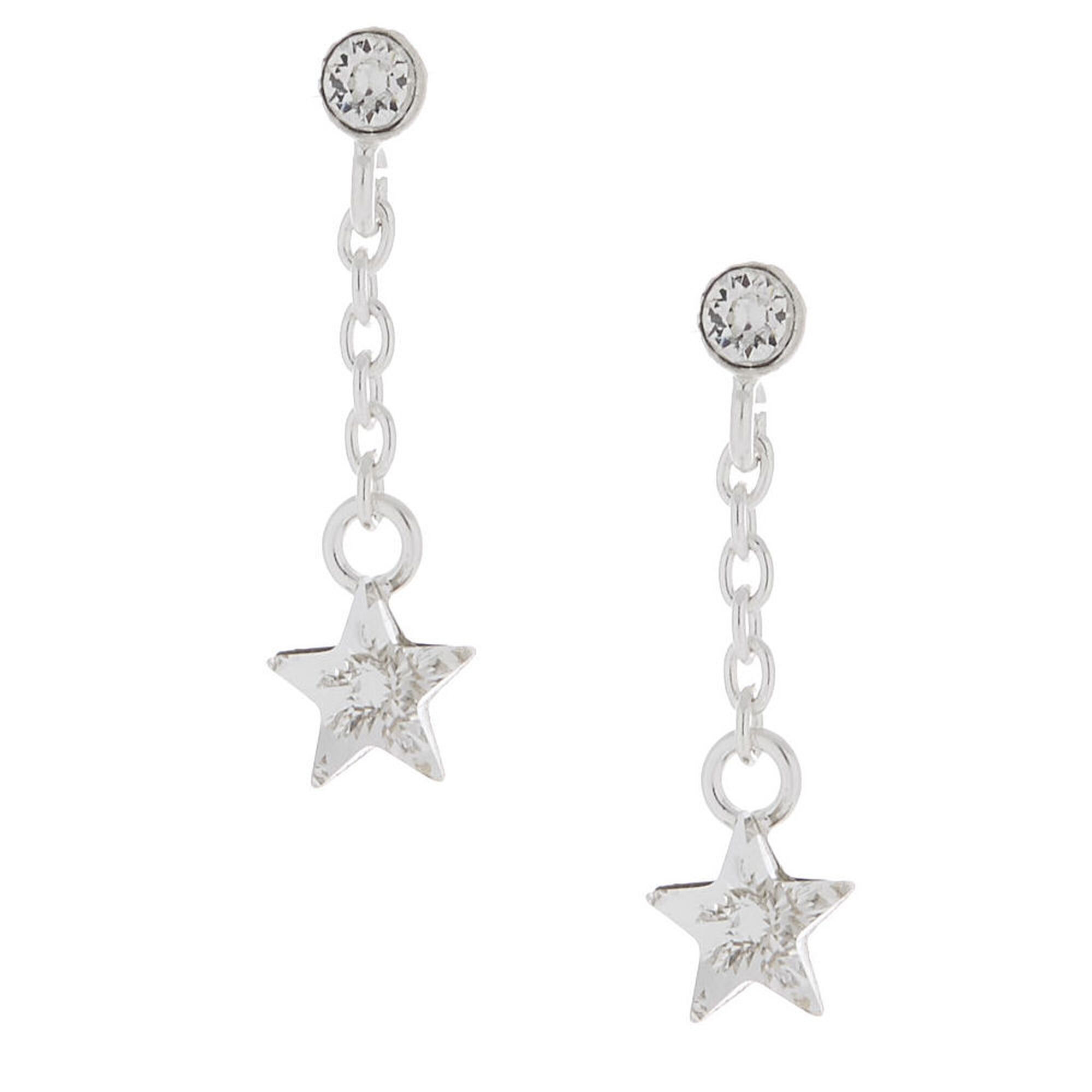 7d0e4ef65 Sterling Silver Swarovski® Crystal Star Drop Earrings | Claire's