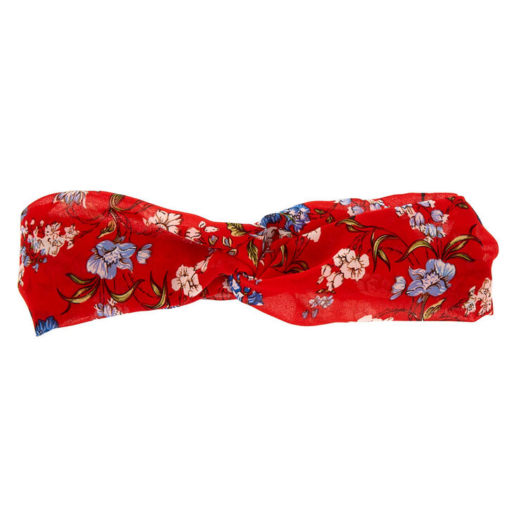 Floral Twisted Headwrap - Red,