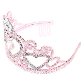 Claire's Club Crystal Heart Crown - Pink,