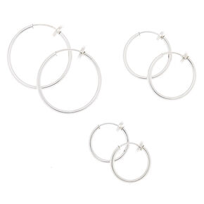 Silver Graduated Clip On Hoop Earrings - 3 Pack,