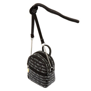 Love Script Mini Backpack Crossbody Bag - Black,