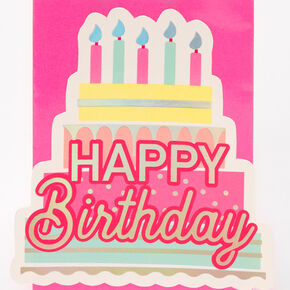 Small Happy Birthday Cake Gift Bag - Pink,