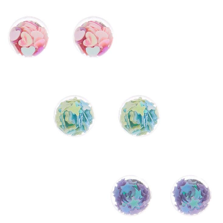 Pale Pink Confetti Triple Stone earrings