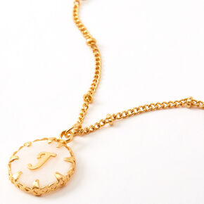 Gold Shell Initial Pendant Necklace - J,