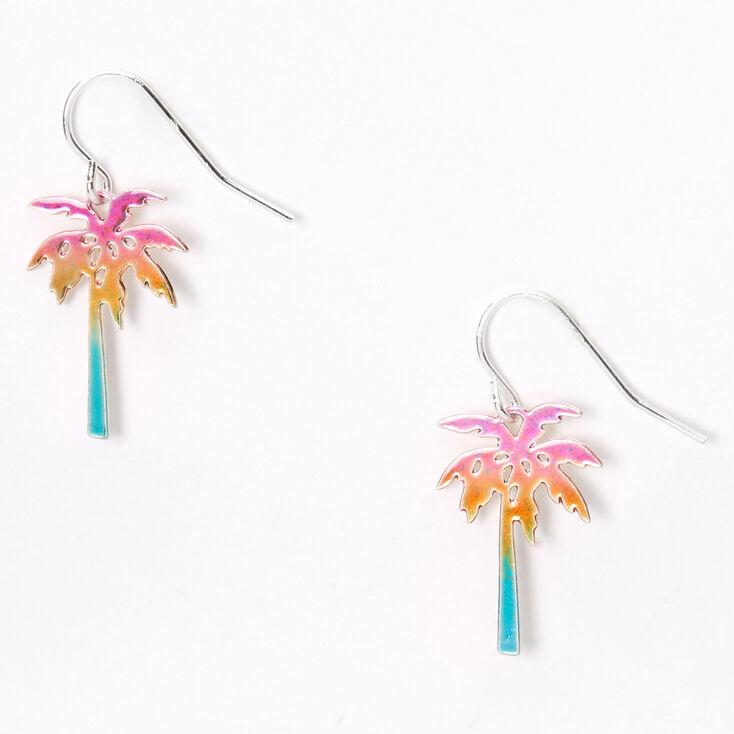 """Silver 1"""" Anodized Rainbow Palm Tree Drop Earrings,"""