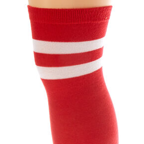 Over The Knee Striped Socks - Red,