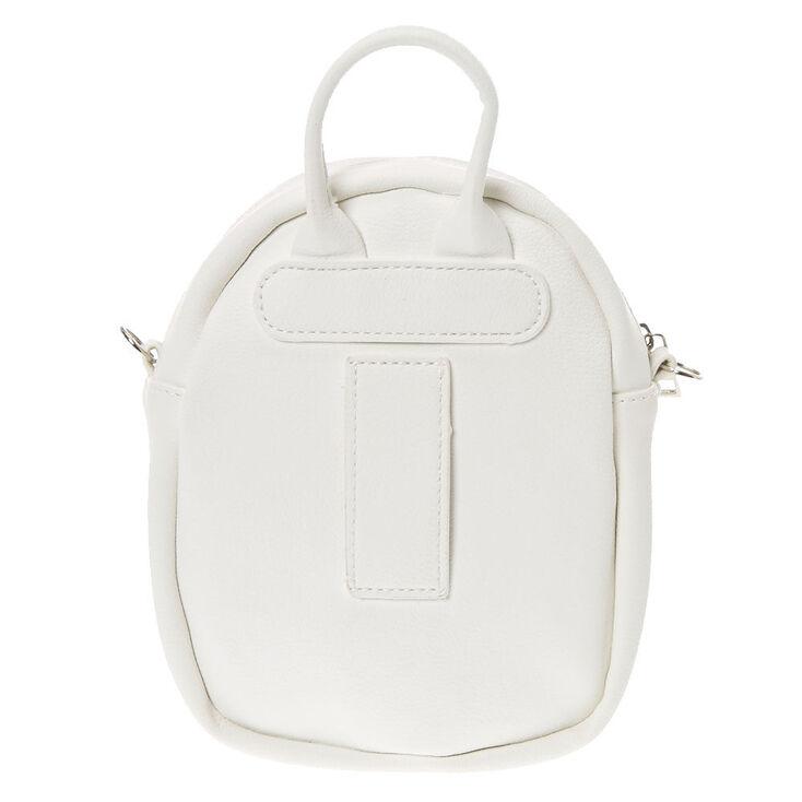 Faux Leather Mini Backpack Crossbody Bag - White,
