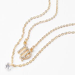 Gold Cubic Zirconia Zodiac Multi Strand Necklace - Virgo,