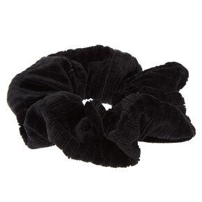 Medium Ribbed Velvet Hair Scrunchie - Black,