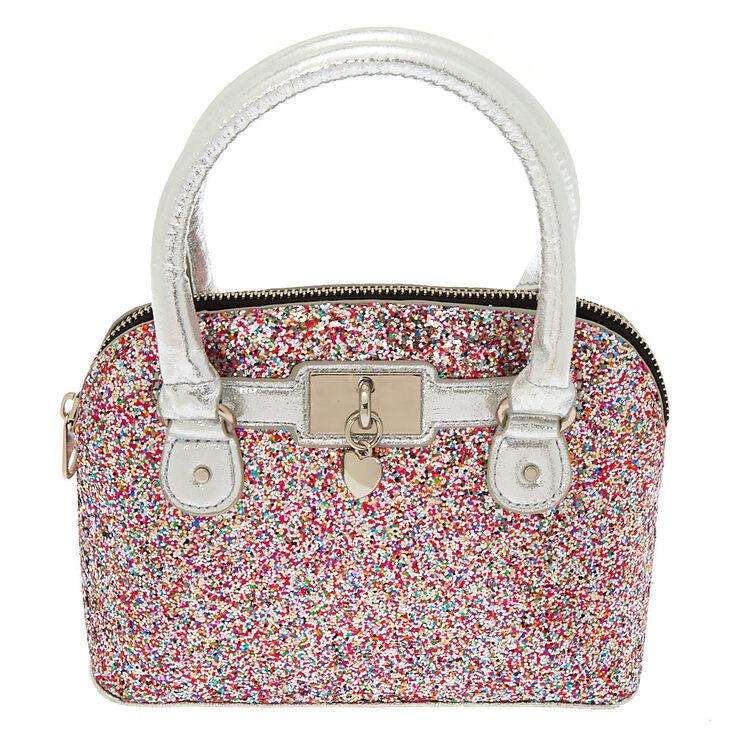 93900a8857100 Rainbow Glitter Mini Satchel Crossbody Bag - Silver
