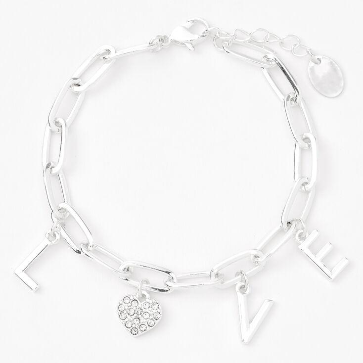 Bracelet maillons de chaîne avec breloques L-O-V-E couleur argentée,