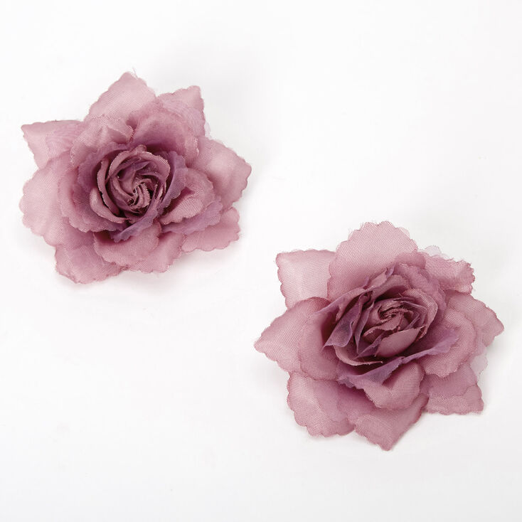 Mini Rose Hair Clips - Berry, 2 Pack,