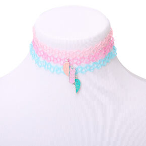 Best Friends Pastel Heart Tattoo Choker Necklaces - 3 Pack,