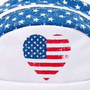 American Flag Mini Crossbody Backpack - White,