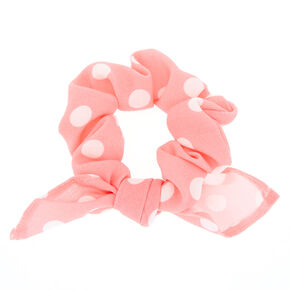 Small Polka Dot Knotted Bow Hair Scrunchie - Pink,