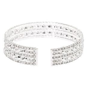 Silver Rhinestone Infinity Cuff Bracelet,