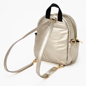 Mini sac à dos convertible en sac à bandoulière métallisé - Ocre,