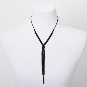 Collier à pendentif à franges en Y torsadé avec strass - Noir,