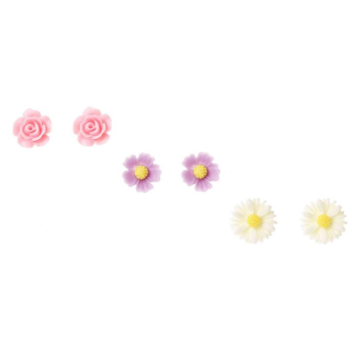 Silver Pastel Carved Flower Stud Earrings - 3 Pack,