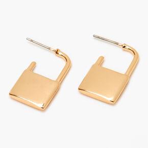 Gold Lock Stud Earrings,