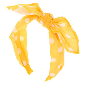 Polka Dot Knotted Bow Headband - Yellow,