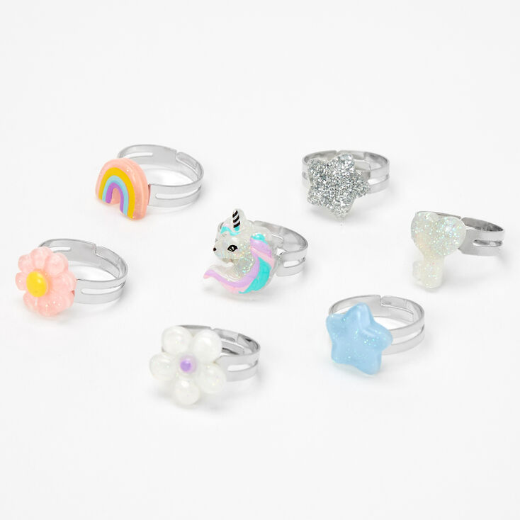 Claire's Club Unicorn Box Rings - Lilac, 7 Pack,