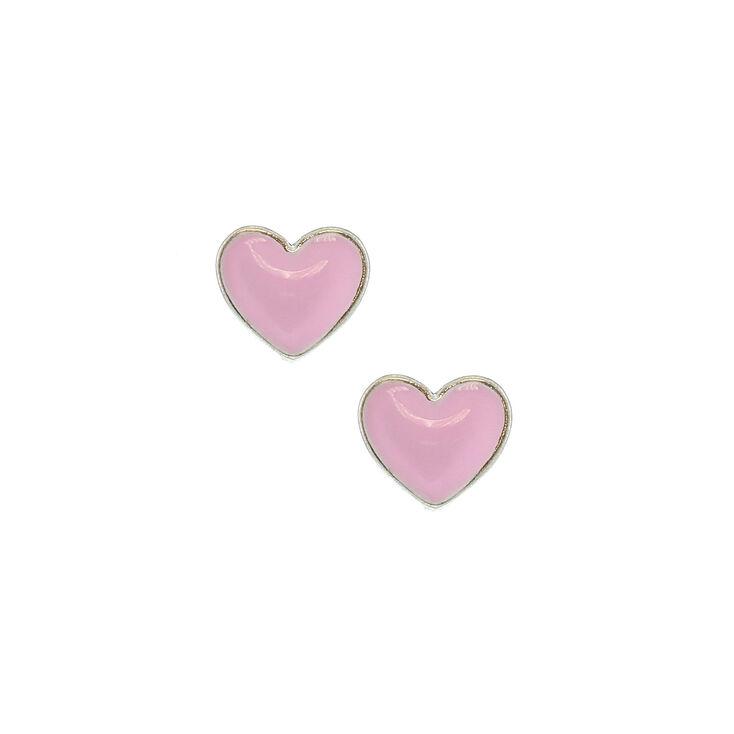 Pink Love Heart Stud Earrings