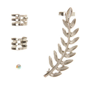 Silver Leaf Ear Cuff & Stud Earring Set - 4 Pack,