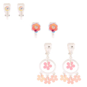 Holographic Flower Mixed Earrings - 3 Pack,