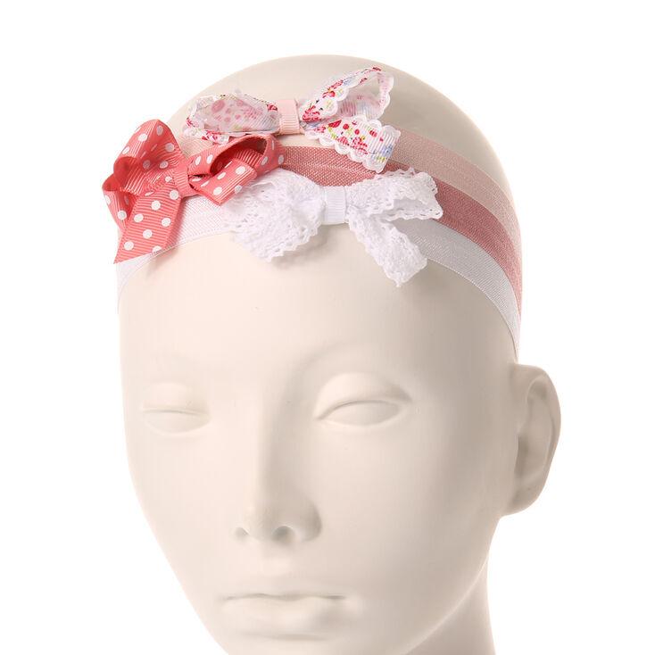 Bandeaux roses et blancs nœud à ruban enfants,