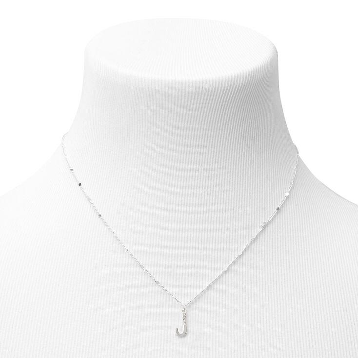 Silver Half Stone Initial Pendant Necklace - J,