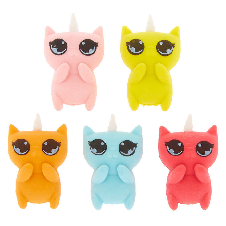 Rainbow Unicorn Cat Erasers - 5 Pack,