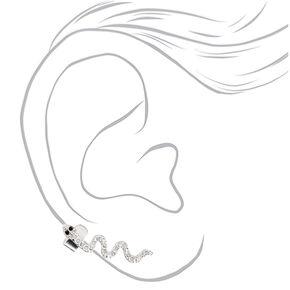 Boucle d'oreille à chaîne serpent couleur argentée,