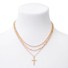Colliers chaîne à pendentif et à croix couleur dorée - Lot de 3,