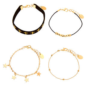Gold Spiritual Chain Bracelets - 4 Pack,