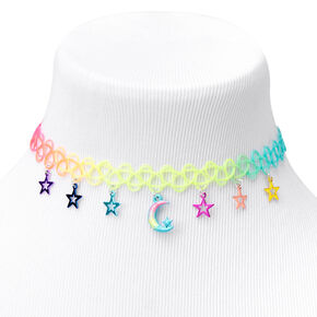 Moon and Stars Anodized Tattoo Choker Necklace,