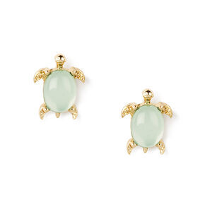 Gold Turtle Crystal Shell Stud Earrings - Mint,