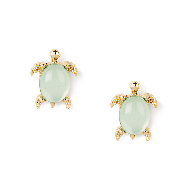 Gold Turtle Crystal Shell Stud Earrings - Mint,