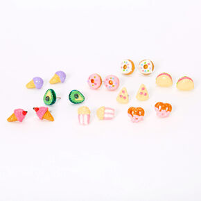 Glitter Snacks and Treats Stud Earrings - 9 Pack,