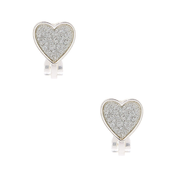 Silver Glitter Heart Clip On Earrings,