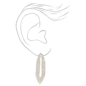 "Silver Rhinestone 2.5"" Feathered Drop Earrings,"
