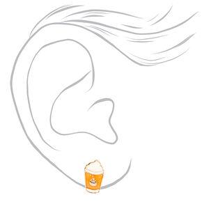 Silver Pumpkin Spice Latte Stud Earrings,