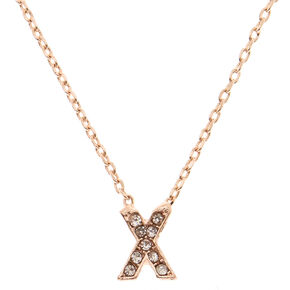 Rose Gold Embellished Initial Pendant Necklace - X,