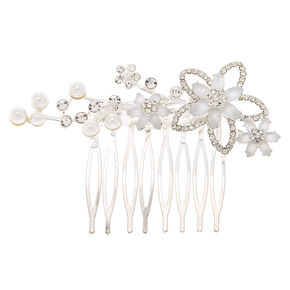 Silver Frosted Flower Hair Comb,