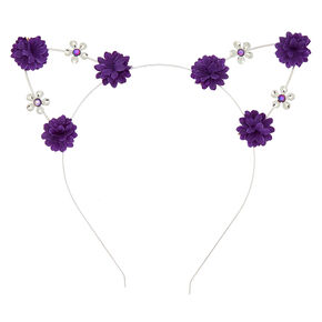 6d45be880bc Silver Flower Girl Cat Ears Headband - Purple