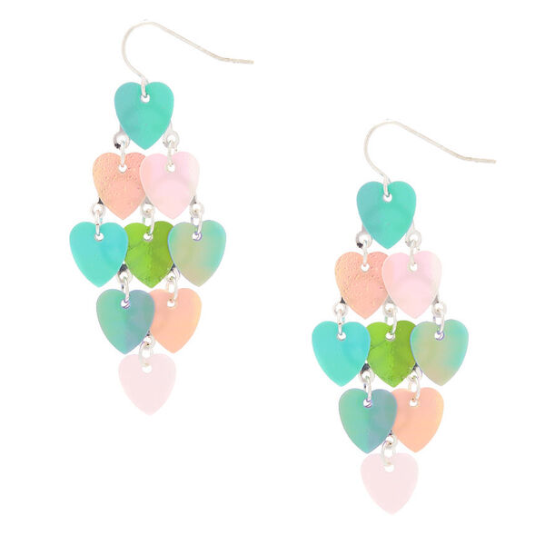 "Claire's - 2"" holographic heart chandelier drop earrings - 1"