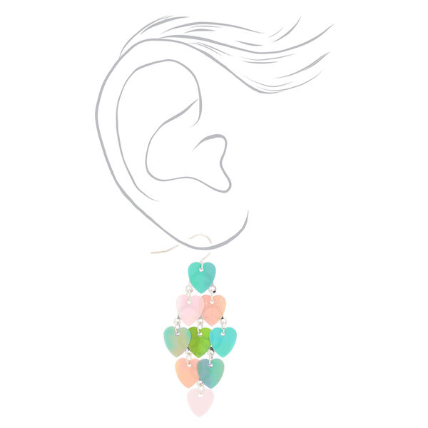 "Claire's - 2"" holographic heart chandelier drop earrings - 2"