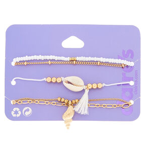 Gold Cowrie Shell Bracelets - 5 Pack,